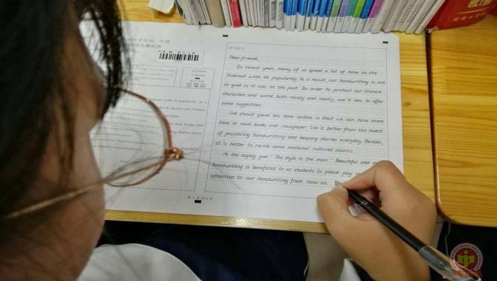 冀州中学高一年级举行英语书法大赛